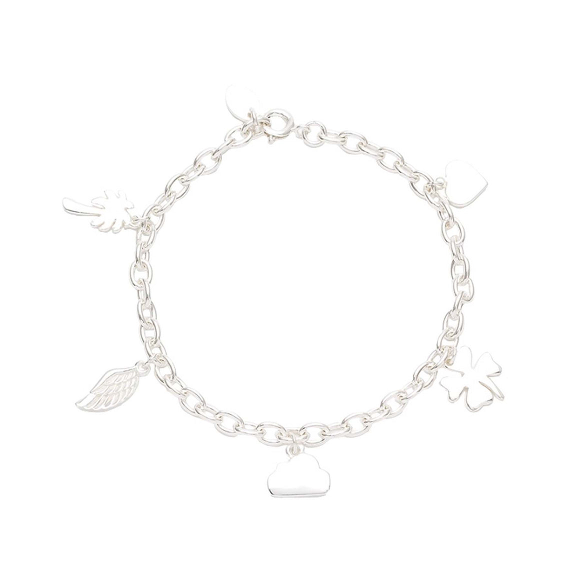 silver links bracelet with charms