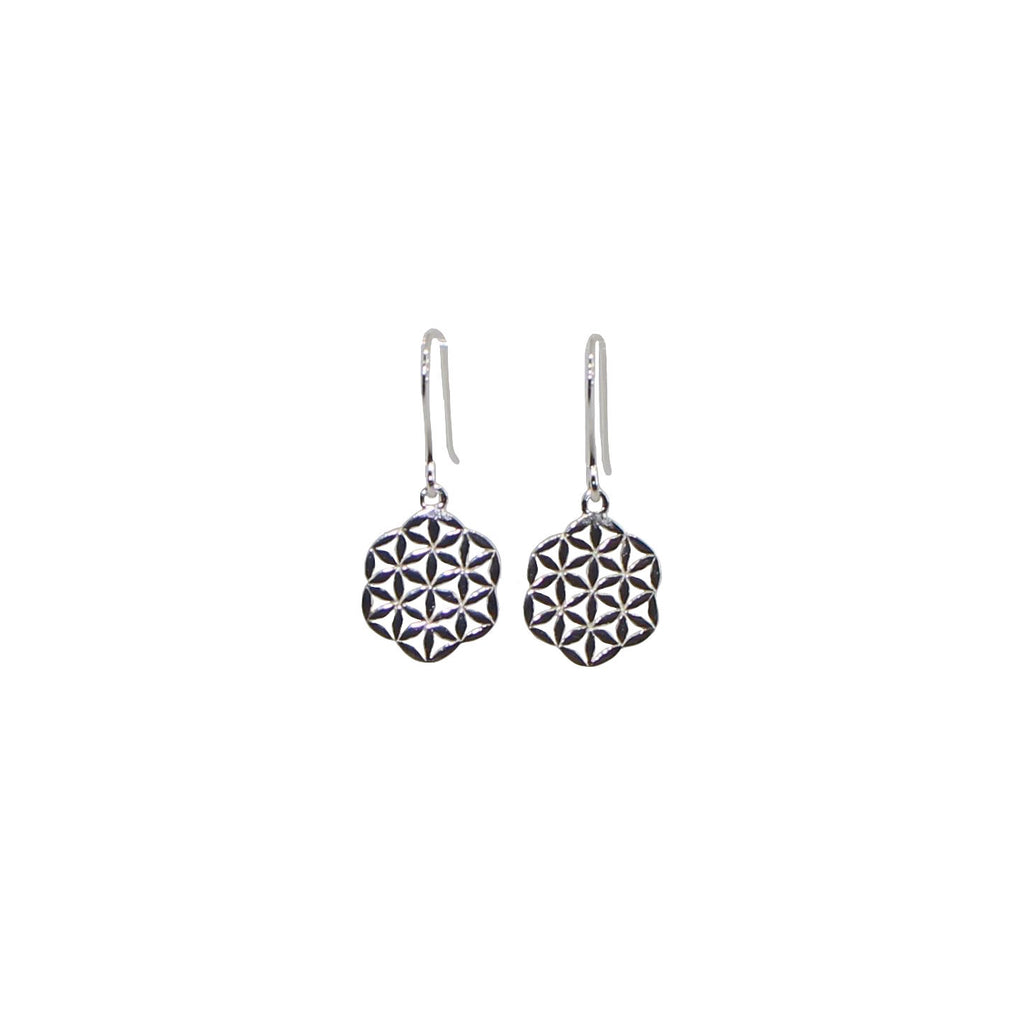 silver flower of life dangling earrings