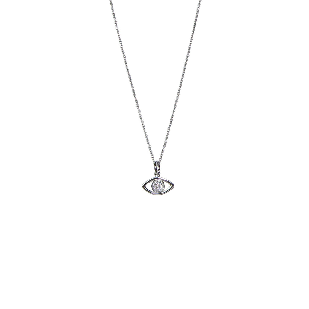 silver sparkling evil eye necklace I Karma Links Jewellery