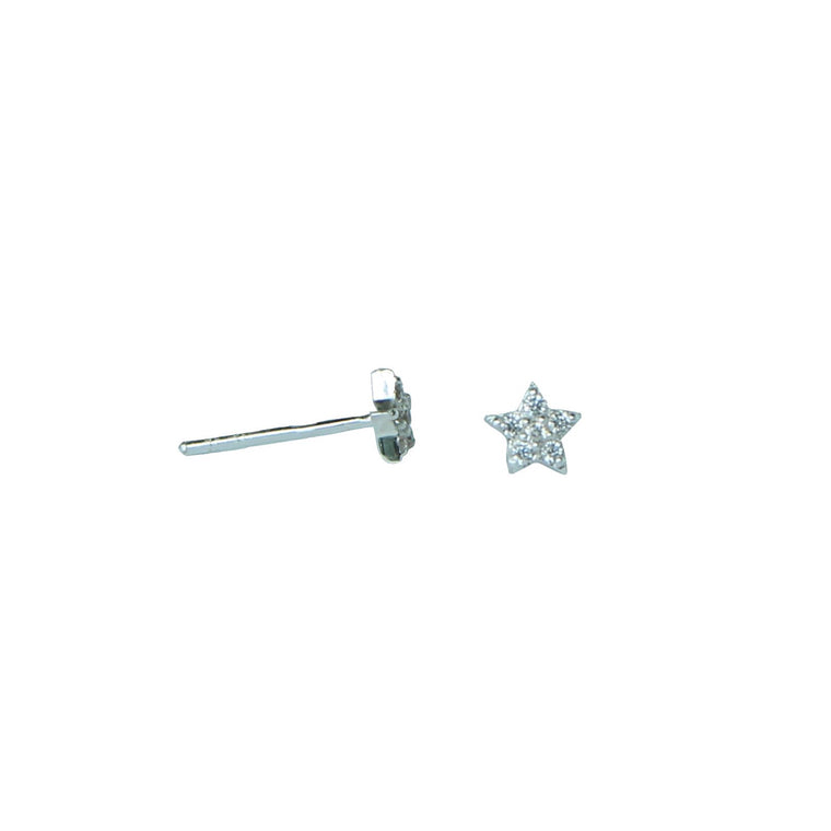 silver sparkling star stud earrings