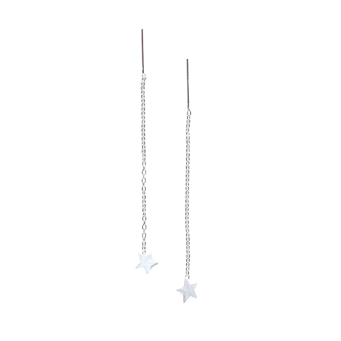star sterling silver thread thru earrings