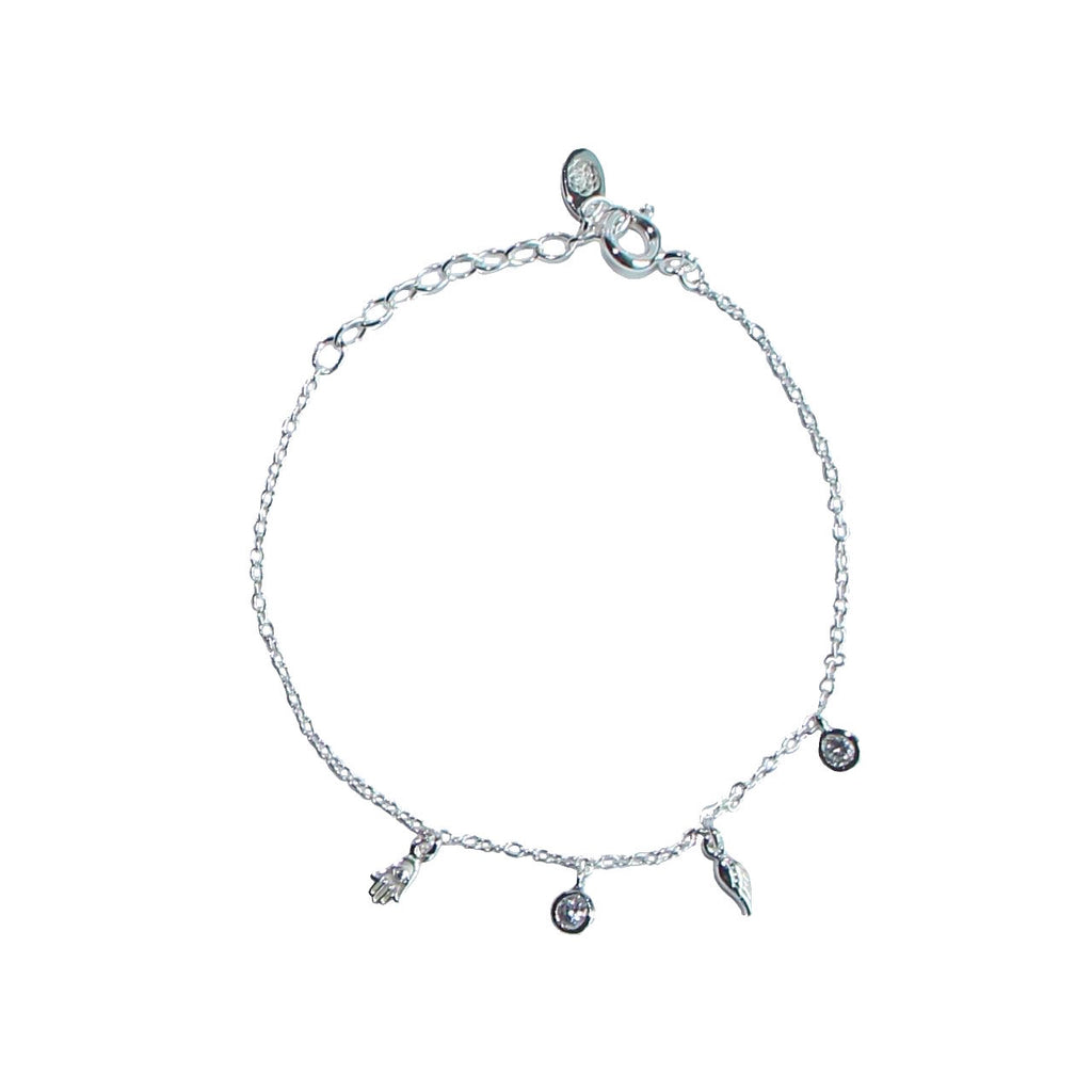 silver tiny charms chain bracelet by Karma Links Jewellery