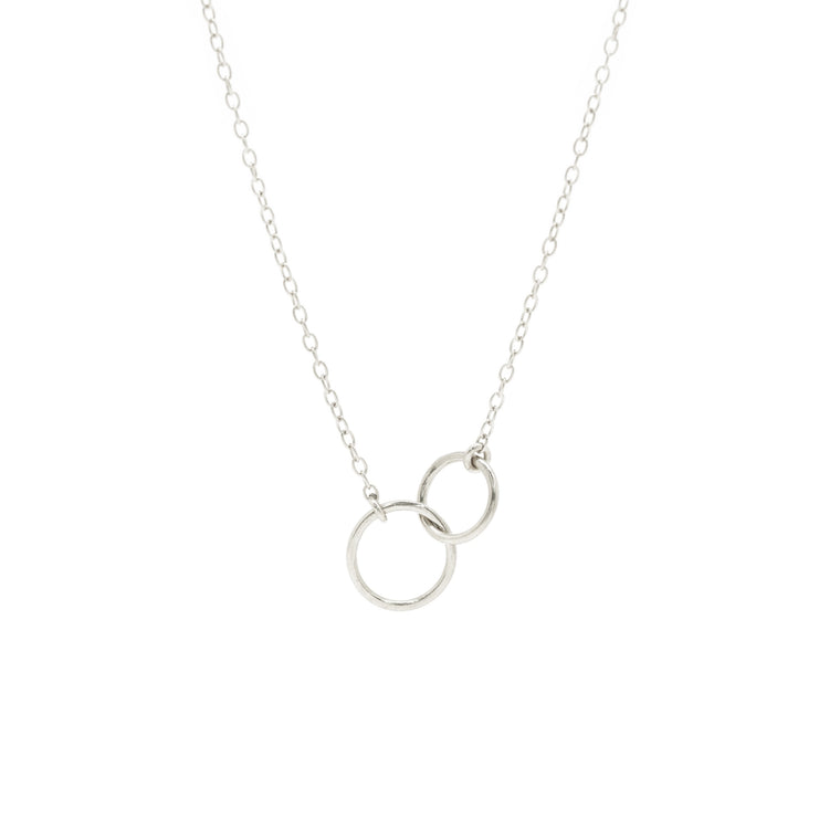 double ring necklace in silver