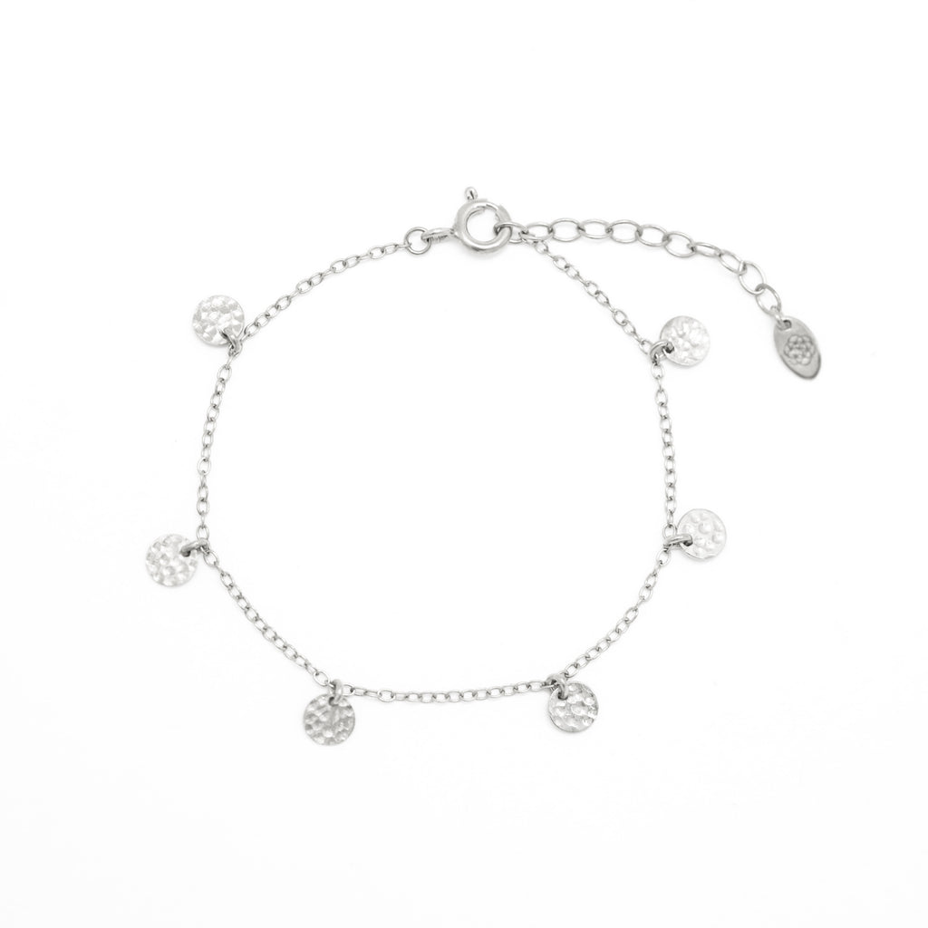 silver hammered disc chain bracelet