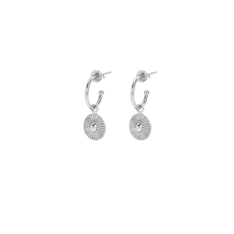 silver soleil huggie earrings