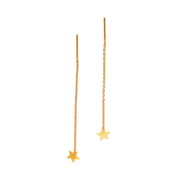 tiny gold star thread thru earrings