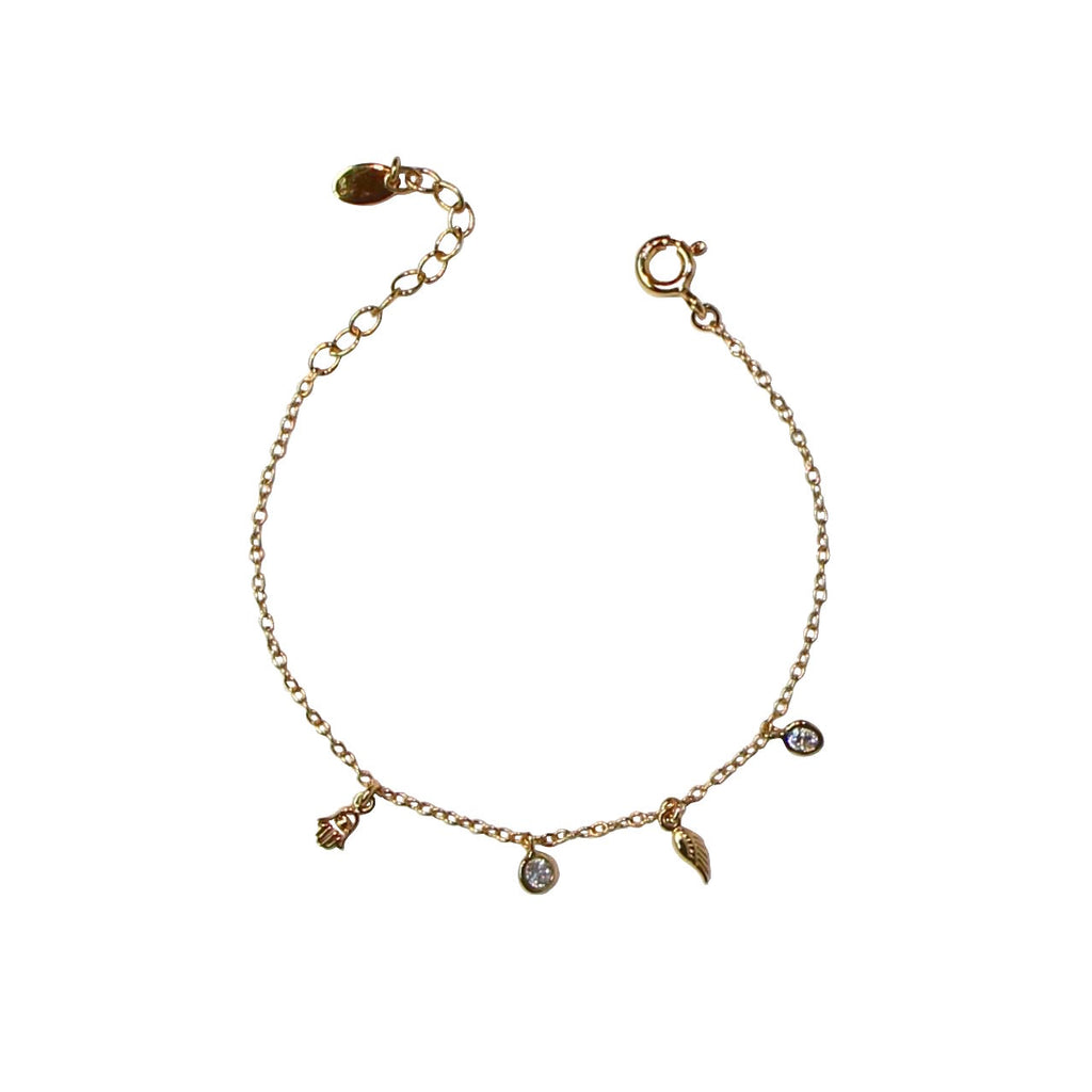 gold mini charms chain bracelet