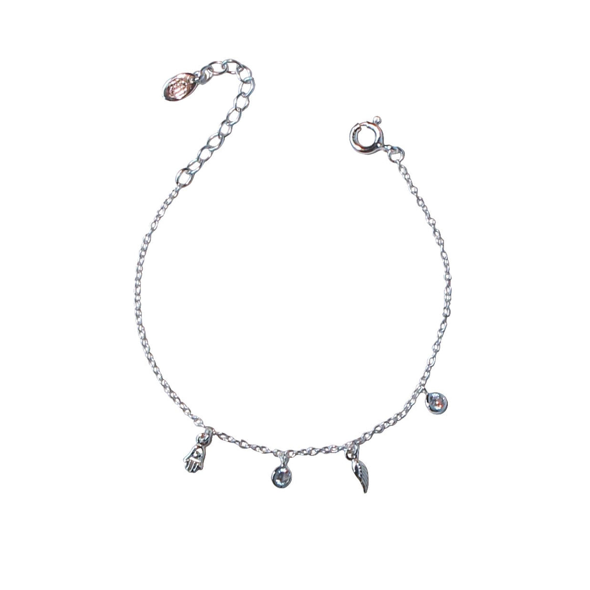 silver mini charms chain bracelet