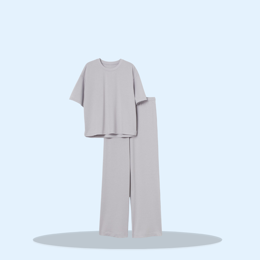 Ladies Jersey Grey Marl PJ Set with Boxy Top (Pack of 1 x 1)