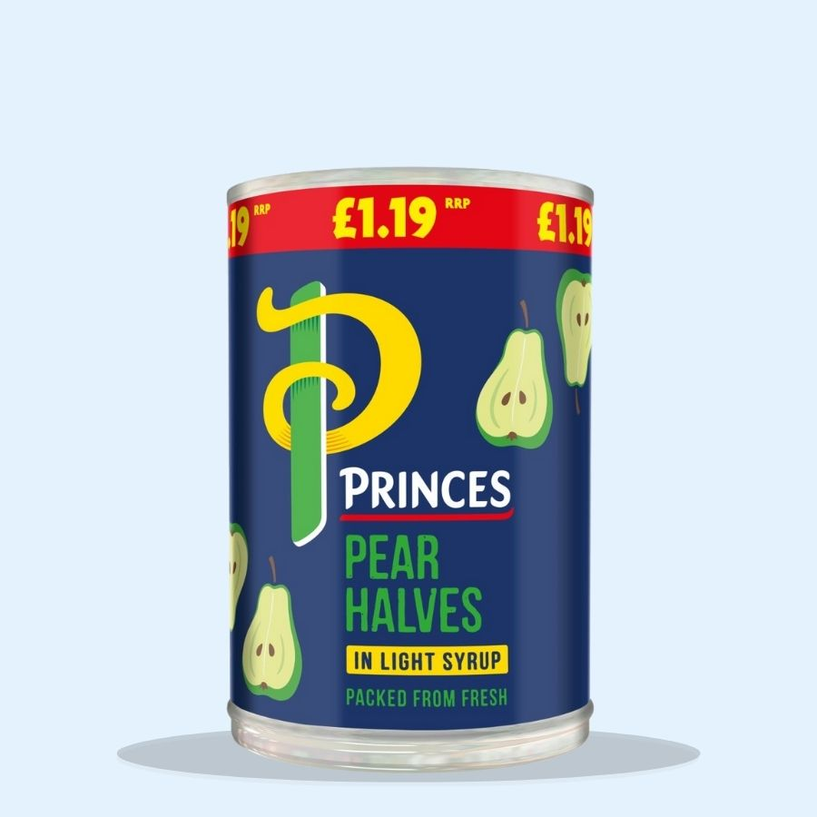 Princes Pear Halves in Light Syrup (Pack of 6 x 410g)