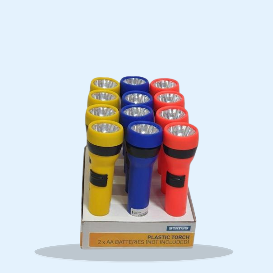 Status Plastic Torch Assorted Colours (Pack of 12 x 1)