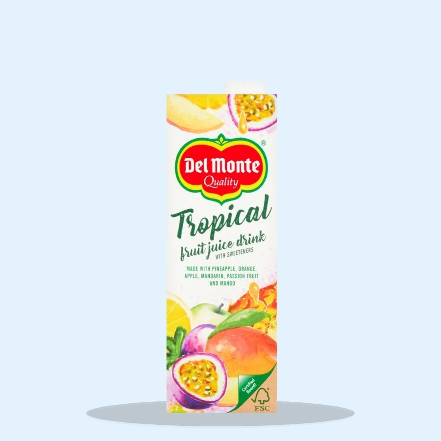 Del Monte Tropical Fruit Juice Drink with Sweeteners 1 Litre (Pack of 6 x 1ltr)