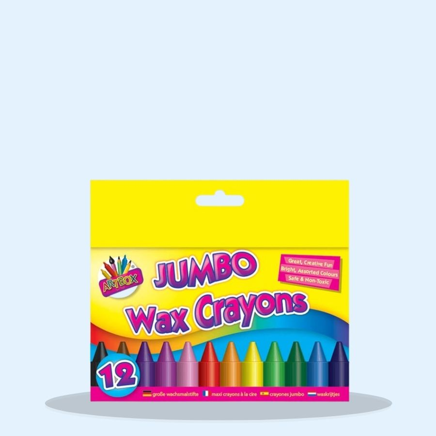 Jumbo Wax Crayons, Bright, Assorted Colours (Pack of 4 x 12s)