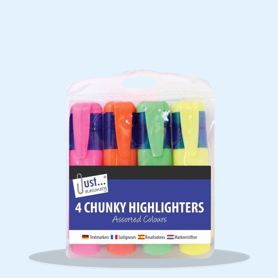 4 Chunky Highlighters Assorted Neon Colours (Pack of 12 x 4s)