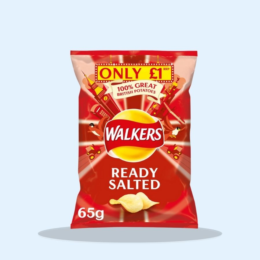 Walkers Ready Salted Crisps (PM £1) (Pack of 15 x 65g)