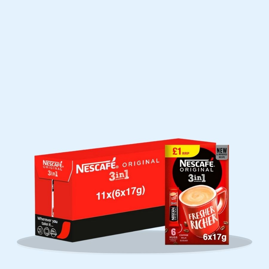 Nescafe Original 3in1 Instant Coffee, 6 Sachets (Pack of 11 x 17g)