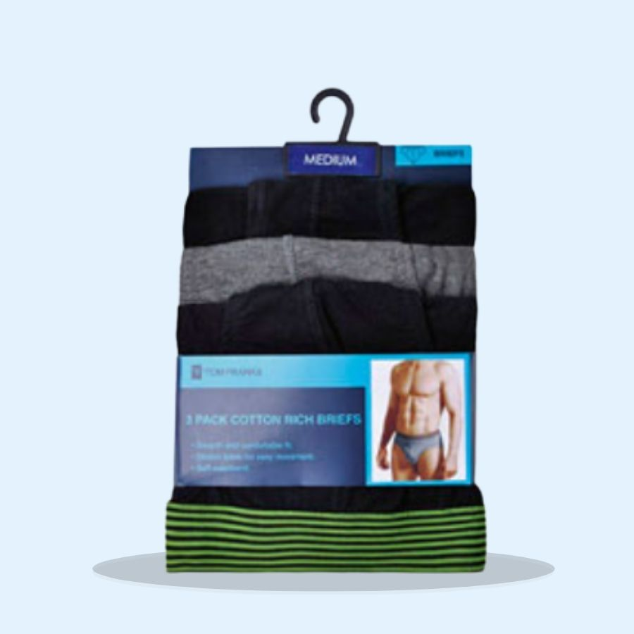 Mens 3 Pack Briefs Striped Waistband (Pack of 3 x 1)