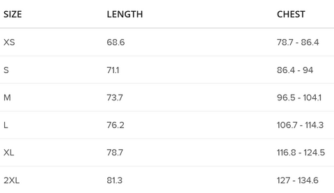 Size Guide for T-Shirts in cms