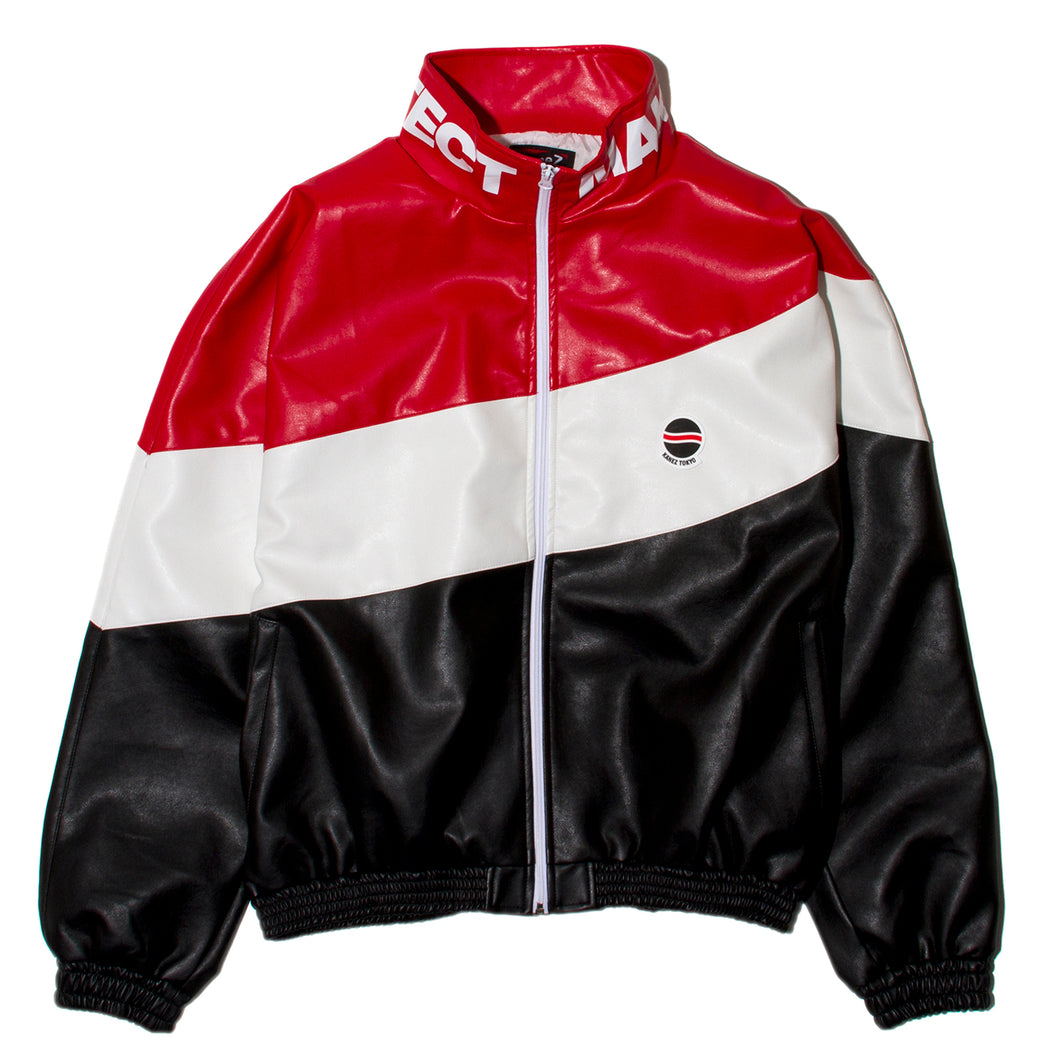 RUSSIAN FAKE LEATHER TRACK JACKET
