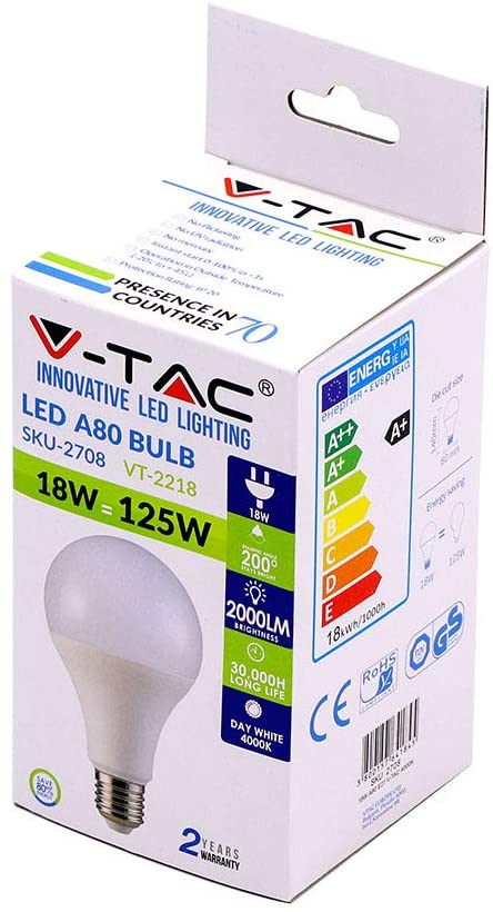 Lampada led A80 bulb VT-2218 18w=125w (6400k cool white)