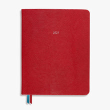 Load image into Gallery viewer, Luxury Large Red Leather Mid Year Academic Diary 2021