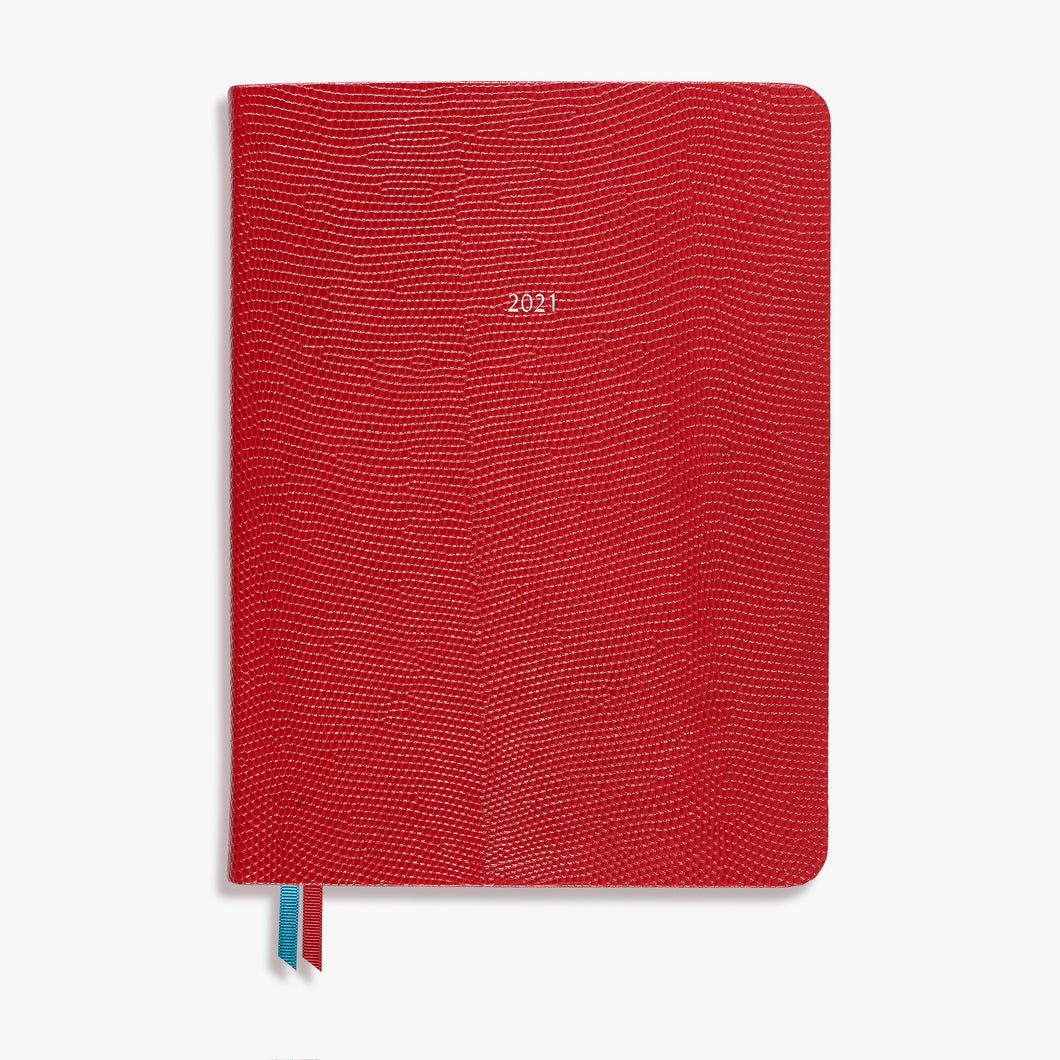Luxury Midsize Mid Year Academic Red Leather Belgravia Diary 2021