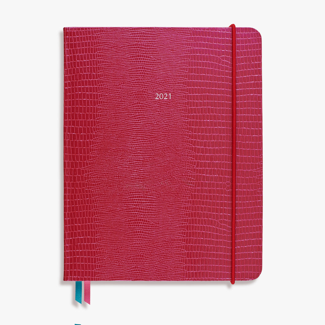 The Large OrganiseherTM Diary 2021 in Raspberry Shimmer Iguana