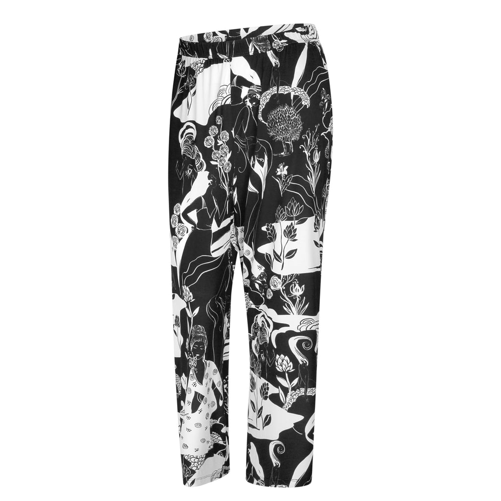 ANNA pants Oriental print black white