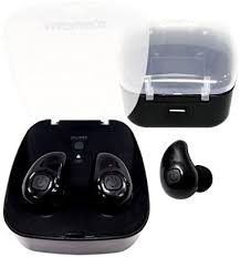 Black earbuds in a black case.