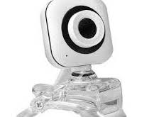 A white, black and clear plastic webcam.