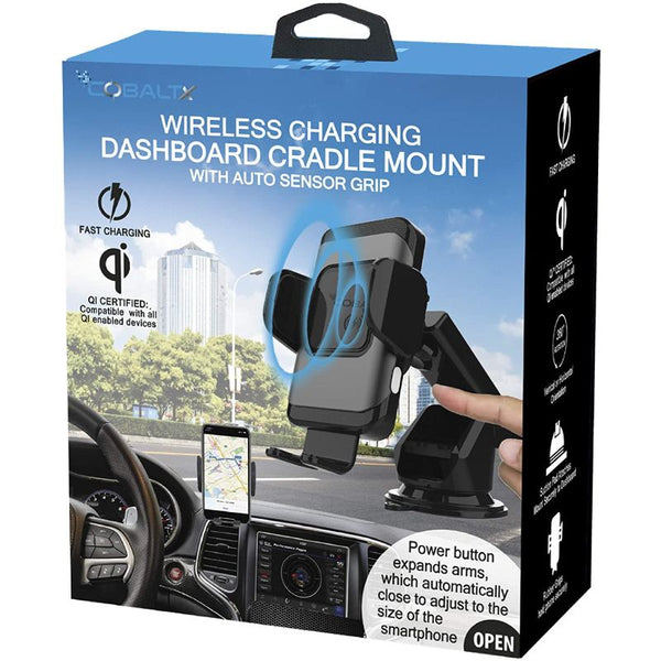 CobaltX Wireless Charging Dashboard Cradle Mount with Auto Sensor Grip