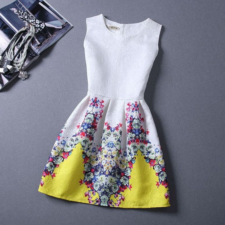 #289 Floral Print Sleeveless Mini Dress
