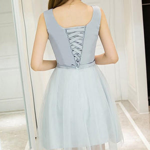 #1447 Round Neck Needle and Thread Embellished Mini Dress with Band and Bow