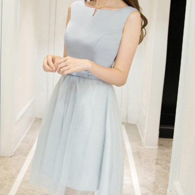 #1448 Slit Neck Needle and Thread Embellished Mini Dress with Band and Bow