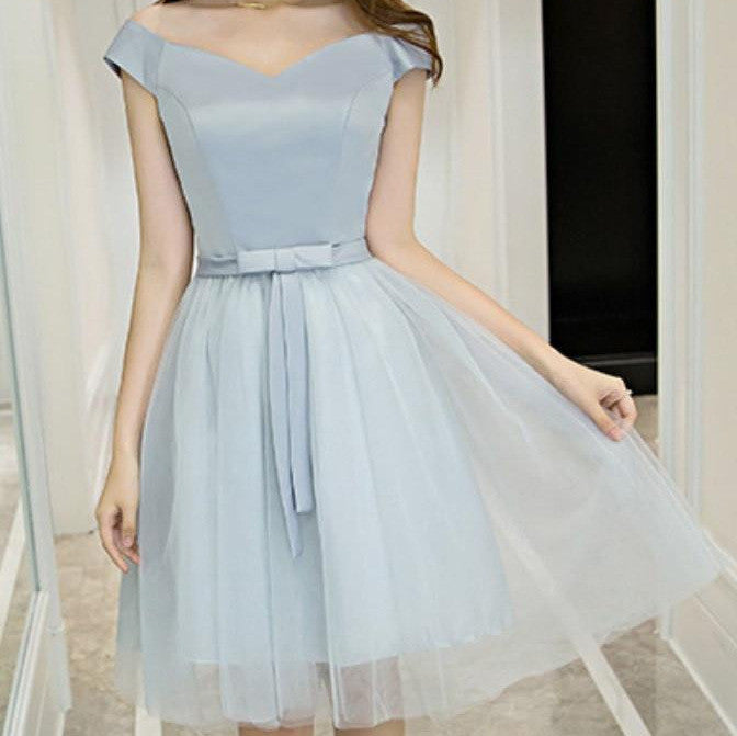 #1449 Off-shoulder Needle and Thread Embellished Mini Dress with Band and Bow