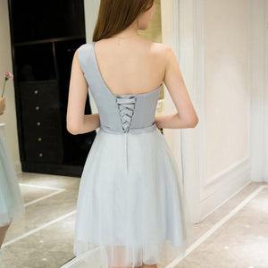 #1445 One shoulder Needle and Thread Embellished Mini Dress with Band and Bow
