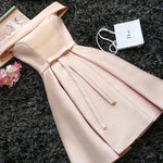 #1443 Off-the-shoulder Box Pleat Mini Dress with Band and Bow