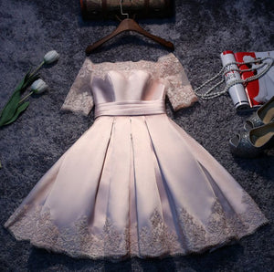 #1166 Off Shoulder Floral Embroidered Satin Skater Mini Dress with ¾ Sleeves