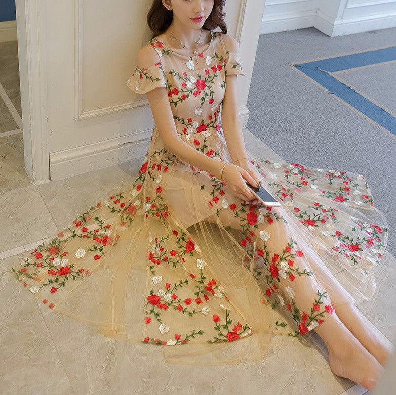 #1431 Cold Shoulder Floral Embroidered Needle & Thread Maxi Dress