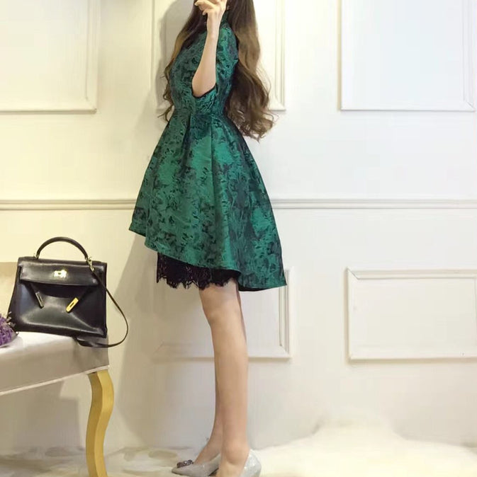 #1467  Embroidered Hi Low Hem with Lace Mini Dress