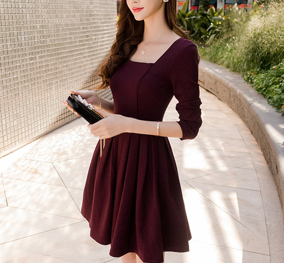 #1472 Square Neck Pleat Mini Dress with 3/4 Sleeves