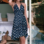 #1473 V Neck Sling Mini Dress with High Low Hem & Dot Print
