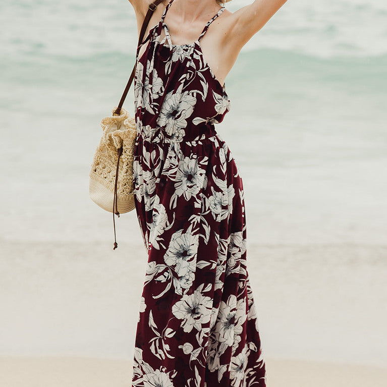 #1474 Sling Backless Maxi Dress with Floral Print