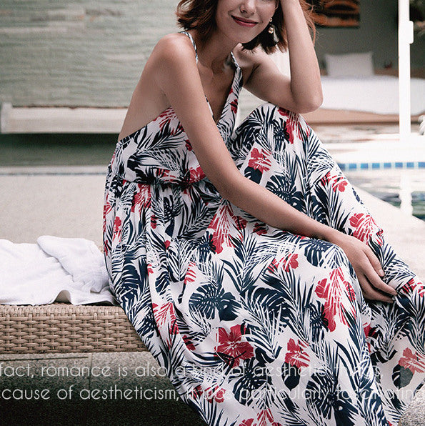 #1476 Sling Backless Maxi Dress with Floral Print