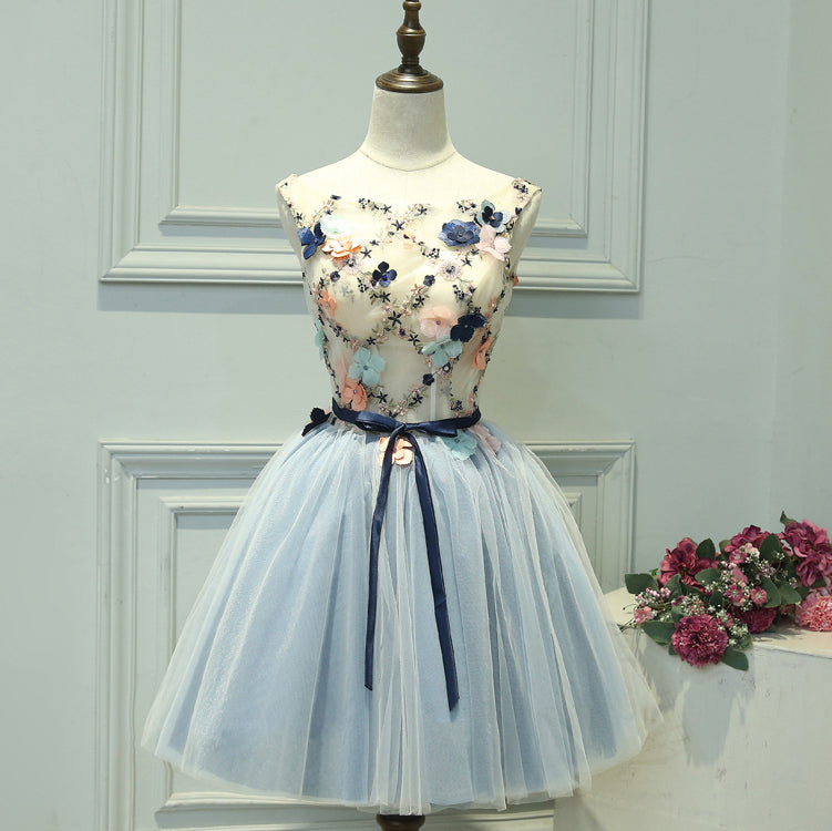 #1480 Lace & Flowers Skater Mini Dress with 3D Shirring Detail