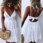 #1483 Sling Backless Mini Dress with Band
