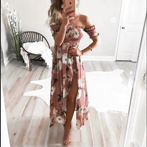 #1485 Off Shoulder Maxi Dress with Floral Print