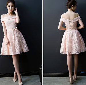 #1490 Off-the-shoulder Box Pleat Mini Dress with Bow