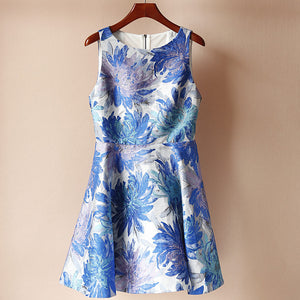 #1494 Round Neck Sleeveless Mini Dress in Blue Floral Print