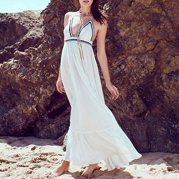 #1502 Sling Backless Maxi Dress with Band